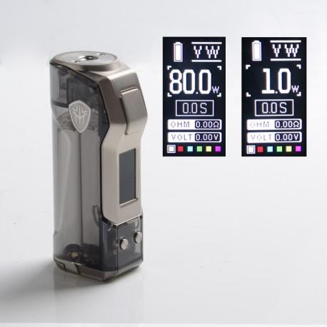 Authentic Rincoe Jellybox Mini 80W Box Mod - Black Clear, 1 x 18650 / 20700 / 21700, VW 1~80W, TC 200~600'F (100~315'C)