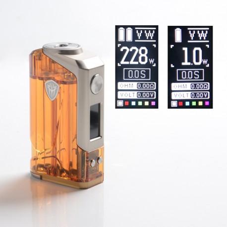 Authentic Rincoe Jellybox 228W Box Mod - Amber Clear, VW 1~228W, 2 x 18650, TC 200~600'F (100~315'C)