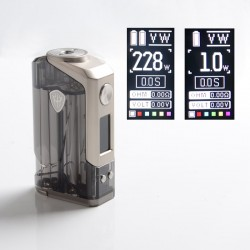 Authentic Rincoe Jellybox 228W Box Mod - Black Clear, VW 1~228W, 2 x 18650, TC 200~600'F (100~315'C)