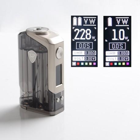 Authentic Rincoe Jellybox 228W Box Mod - Black Clear, VW 1~228W, 2 x 18650, TC 200~600'F (100~315'C)