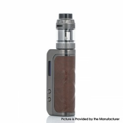 Authentic Augvape FOXY ONE 120W VW Starter Kit - Gunmetal + Brown Leather, 5~120W, 5.0ml / 3.5ml, 1 x 20700 / 21700 / 18650