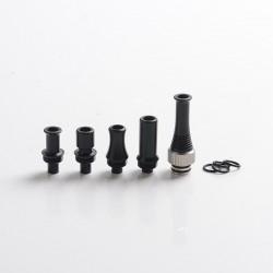 Authentic Auguse CG V2 510 Drip Tip kit for RBA / RTA / RDA Vape Atomizer - Black + Silver, POM + SS (5 PCS)