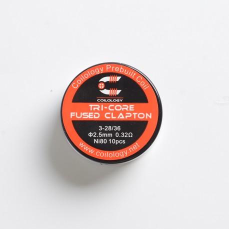 Authentic Coilology Tri-Core Fused Clapton Prebuilt Coil for RTA / RDA Vape Atomizer - Ni80, 3-28 / 36GA, 0.32ohm (10 PCS)