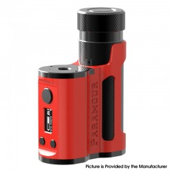 Authentic Mechlyfe x Fallout Vape x Mrjustright1 Paramour SBS Mod - Red Black, Side-by-Side, 5~80W, 1 x 18650 / 20700 / 21700