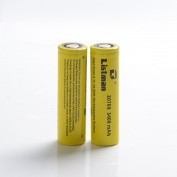 [Ships from Battery Warehouse] Authentic Listman IMR 20700 3400mAh 40A Flat Top Li-ion Rechargeable Battery for Mod - (2 PCS)
