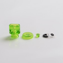 Never Normal Whistle V2 Style 510 Drip Tip + Button + Small Button for dotMod dotAIO Pod - Forest Green, PMMA