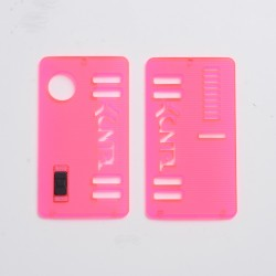 Kontrl Style Front + Back Door Panel Plates w/ Black Button for dotMod dotAIO Vape Pod System - Fluo Red, Acrylic (2 PCS)