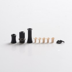 Authentic Auguse CG108P CG Pro 510 Drip Tip w/ 5 x Plugs for RTA / RDA / RDTA Vape Atomizer - Gunmetal + Black, SS + POM, 30.5mm