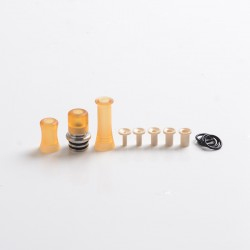 Authentic Auguse CG108P CG Pro 510 Drip Tip w/ 5 x Plugs for RTA / RDA / RDTA Vape Atomizer - Silver + Yellow, SS + PEI, 30.5mm