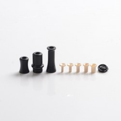 Authentic Auguse CG108P CG Pro 510 Drip Tip w/ 5 x Plugs for RTA / RDA / RDTA Vape Atomizer - Black + Black, SS + POM, 30.5mm