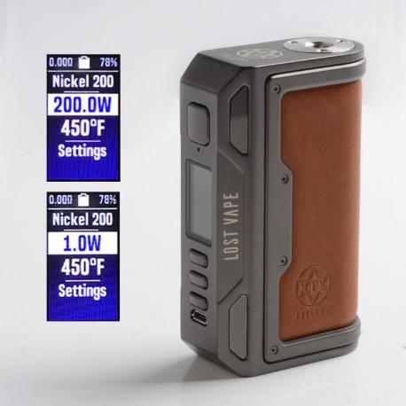 Authentic Lost Vape Thelema DNA250C 200W VW TC Box Mod - Gunmetal / Calf Leather, 1~200W, 200~600'F, 2 x 18650
