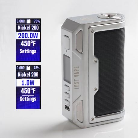 Authentic Lost Vape Thelema DNA250C 200W VW TC Box Mod - SS / Carbon Fiber, 1~200W, 200~600'F, 2 x 18650