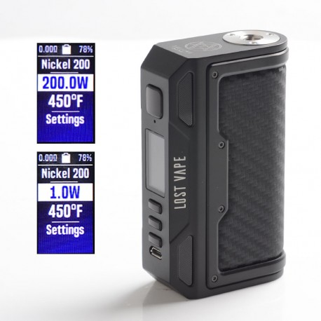 Authentic Lost Vape Thelema DNA250C 200W VW TC Box Mod - Black / Carbon Fiber, 1~200W, 200~600'F, 2 x 18650