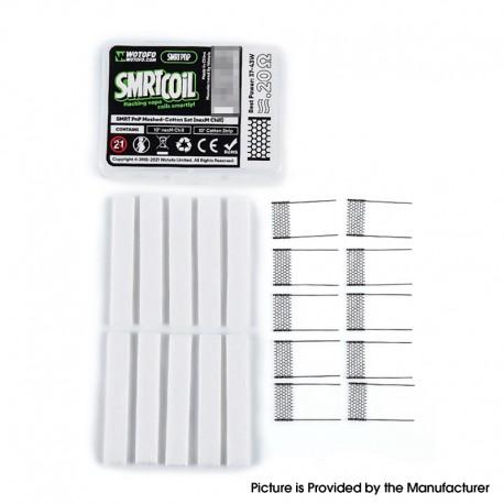 Authentic Wotofo SMRT Pod System Starter Kit / Pod Cartridge Replacement PnP nexM Chill Mesh + Cotton Strip - (10 PCS)