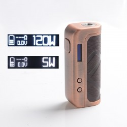 Authentic Augvape Foxy One 120 Vape Box Mod - Copper + Wood Pattern Leather, 5~120W, 1 x 18650 / 20700 / 21700