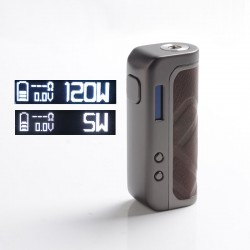 Authentic Augvape Foxy One 120 Vape Box Mod - Gun Metal + Brown Leather, 5~120W, 1 x 18650 / 20700 / 21700