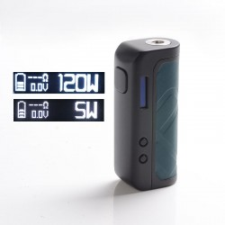 Authentic Augvape Foxy One 120 Vape Box Mod - Black + Green Leather, 5~120W, 1 x 18650 / 20700 / 21700