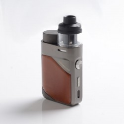 Authentic Vaporesso Swag PX80 Kit 80W Box Mod + Swag 4ml Pod Tank - Leather Brown, 5~80W, Axon Chip, 1 x 18650, 0.2ohm / 0.3ohm