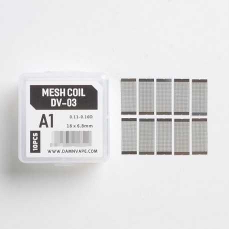 Authentic Damn Vape Doom X Mesh RTA Replacement DV-03 Mesh Coils - 0.11~0.16ohm (45~60W), KA1 (10 PCS)