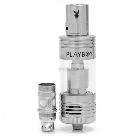 Authentic Playboy Vixen Sub Ohm Tank Clearomizer - Silver + Transparent, Stainless Steel + Glass, 4.5mL, 0.5 ohm, 22mm Diameter