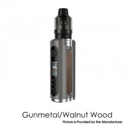 Authentic Lost Vape Grus 100W VW Box Mod + 5.0ml UB Pro Pod Tank Kit - Gunmetal / Walnut Wood, 5~100W, 1 x 21700 / 20700 / 18650