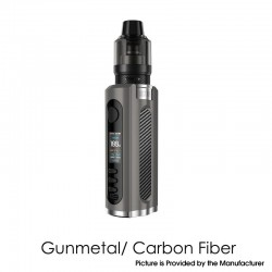 Authentic Lost Vape Grus 100W VW Box Mod + 5.0ml UB Pro Pod Tank Kit - Gunmetal /Carbon Fiber, 5~100W, 1 x 21700 / 20700 / 18650