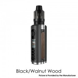 Authentic Lost Vape Grus 100W VW Box Mod + 5.0ml UB Pro Pod Tank Kit - Black / Walnut Wood, 5~100W, 1 x 21700 / 20700 / 18650