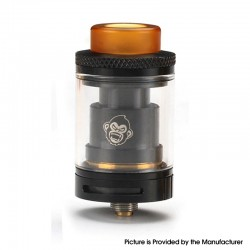Authentic Coil Father King RTA Rebuildable Tank Vape Atomizer - Black, SS, 3.5ml, Dual Coil Configuration, 24mm Diameter