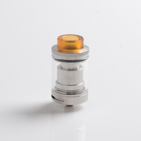 Authentic Coil Father King RTA Rebuildable Tank Vape Atomizer - Silver, SS, 3.5ml, Dual Coil Configuration, 24mm Diameter