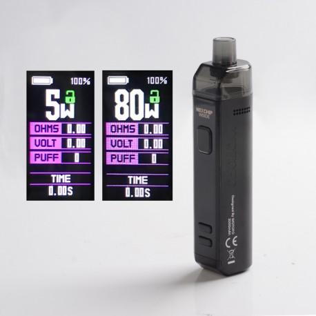 Authentic Wotofo SMRT 2000mAh 80W Pod System Starter Kit - Black, VW 5~80W, 4.5ml Pod Cartridge