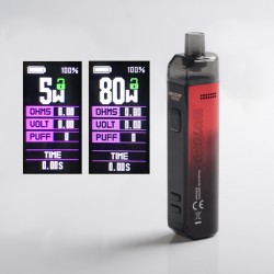 Authentic Wotofo SMRT 2000mAh 80W Pod System Starter Kit - Red, VW 5~80W, 4.5ml Pod Cartridge