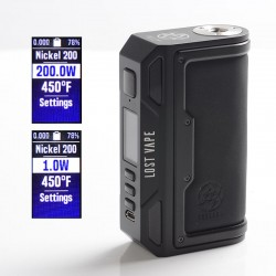 [Ships from HongKong] Authentic Lost Vape Thelema DNA250C 200W VW TC Box Mod - Black / Calf Leather, 1~200W, 200~600'F