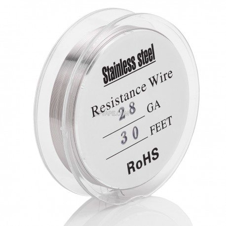 28 AWG Resistance Heating Wire for RBA / RDA / RTA - Silver, 316 Stainless Steel, 0.3mm, 9.92ohm/m, 10m (30 feet)