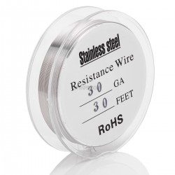 30 AWG Resistance Heating Wire for RBA / RDA / RTA - Silver, Stainless Steel, 0.25mm, 14ohm/m, 10m (30 feet)