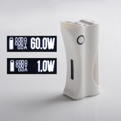 Authentic Ambition Mods and R. S. S.Mods Hera 60W VW Box Mod - White, 1~60W, SS316 + PC, 1 x 18650