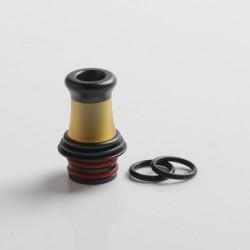 Authentic Auguse Era V2 510 Bevel Drip Tip for RBA / RTA / RDA Vape Atomizer - Black + Yellow, Stainless Steel + PEI, 18.5mm