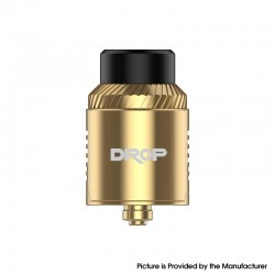 Authentic Digiflavor Drop V1.5 RDA Rebuilable Dripping Vape Atomizer w/ BF Pin - Gold, Dual Coil Configuration, 24mm Diameter