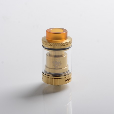 Authentic Coil Father King RTA Rebuildable Tank Vape Atomizer - Gold, SS, 3.5ml, Dual Coil Configuration, 24mm Diameter