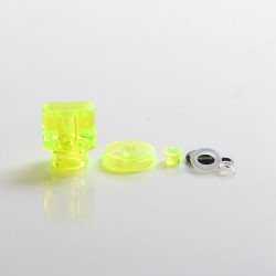 Never Normal Whistle V2 Style 510 Drip Tip + Button + Small Button for dotMod dotAIO Pod - Fluo Green, PMMA