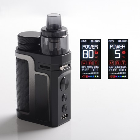 Authentic OBS Oner 80W VW Pod System Vape Kit - Carbon Black, 5~80W, Side-by-Side, 1 x 18650, 5.0ml Pod Cartridge, 0.4ohm/0.2ohm