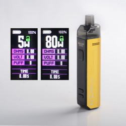 Authentic Wotofo SMRT 2000mAh 80W Pod System Starter Kit - Gold, VW 5~80W, 4.5ml Pod Cartridge