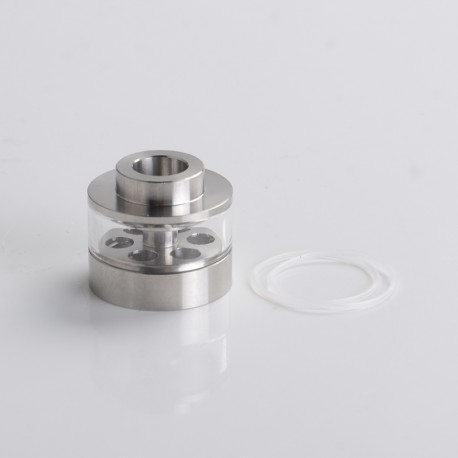 YFTK Flash e-Vapor V4.5S+ Style RTA Replacement Glass Bell Cap + Chimney - Silver, 2.0ml, Stainless Steel (1 PC)
