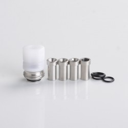 Mission Tips Whistle V2 Style Drip Tip w/ Airflow Bores for BB / Billet Box Mod Kit - White, POM, 4.6 /4.5 /3.5 /2.5 /1.5mm