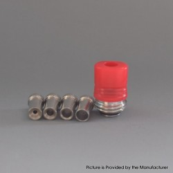 Mission Tips Whistle V2 Style Drip Tip w/ Airflow Bores for BB / Billet Box Mod Kit - Red, POM, 4.6 /4.5 /3.5 /2.5 /1.5mm