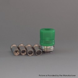 Mission Tips Whistle V2 Style Drip Tip w/ Airflow Bores for BB / Billet Box Mod Kit - Green, POM, 4.6 /4.5 /3.5 /2.5 /1.5mm