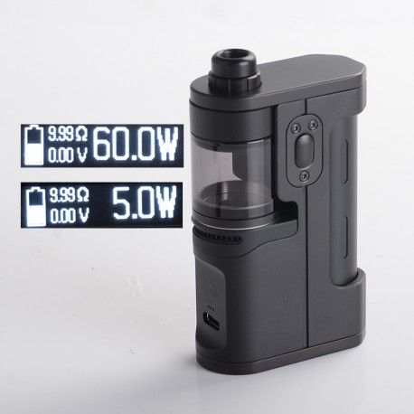Authentic Dovpo X Suicide Mods Abyss 60W VW SBS AIO Mod Kit - Onyx, 5~60W, 1 x 18650 / 21700, Dovpo Chipset
