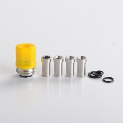 Mission Tips Whistle V2 Style Drip Tip w/ Airflow Bores for BB / Billet Box Mod Kit - Yellow, POM, 4.6 /4.5 /3.5 /2.5 /1.5mm