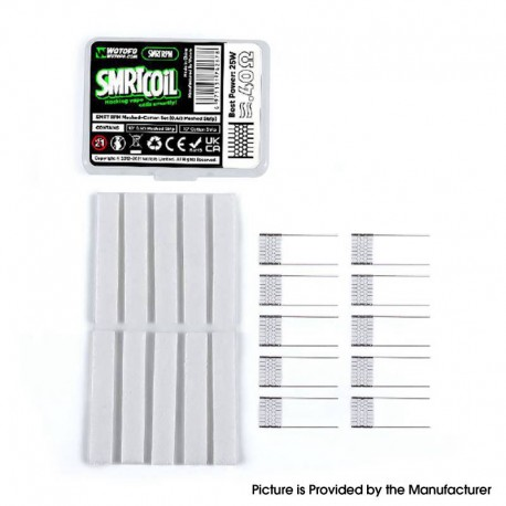 Authentic Wotofo SMRT Pod Kit / Pod Cartridge Replacement SMRT RPM Meshed-Cotton Set - 10 x 0.4ohm Mesh Strip, 10 x Cotton Strip