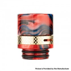 Authentic Reewape RS330 810 Drip Tip w/ Air Regulating Ring for RBA / RTA / RDA - Black + Red, Resin + Steel (1 PC)