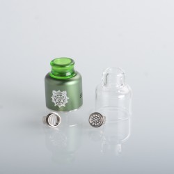 Authentic Damn Vape Mongrel RDA Rebuildable Dripping Vape Atomizer - Green, 25.4mm / 26mm, with Spare Top Cap, Subway Edition